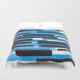 Deep Blue Primitive Stripes Mid Century Modern Minimalist Watercolor Gouache Painting Colorful Strip Duvet Cover