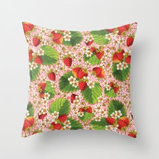 Pink Paisley Strawberries Throw Pillow