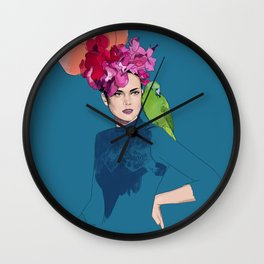 The green parrot Wall Clock