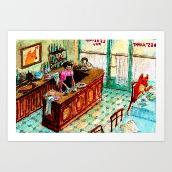 Café Fox Art Print