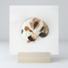 Sleeping Calico Cat Mini Art Print