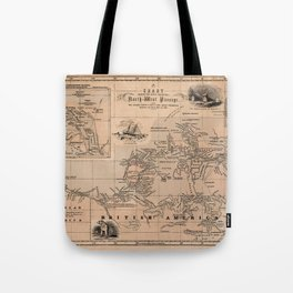 Map of the Northwest Passage 1856 Tote Bag