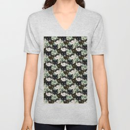 Multicolor Kitty Cats with Pachysandra Leaves Unisex V-Neck