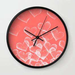 Pretty Hearts lachs Wall Clock