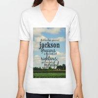 percy jackson V-neck T-shirts featuring Jackson by KimberosePhotography