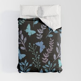 Watercolor flowers & butterflies II Comforters