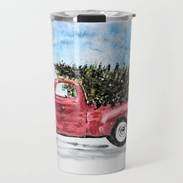 Vintage Red Christmas Truck with Tree Watercolor Travel Mug