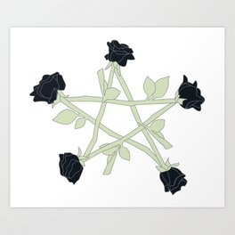 Black Rose Pentagram (color) Art Print