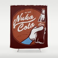 fallout Shower Curtains featuring Nuka Cola Fallout drink by Krakenspirit