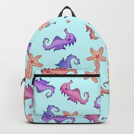 Cute Girly Watercolor Sea Horses and Starfish Summer Pattern Backpack