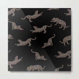 Glam Wild Cats on Black Background Metal Print