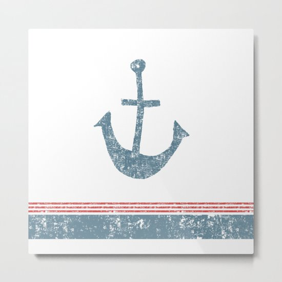 Maritime Design- Nautic Anchor on stripes in blue and red #Society6 Metal Print