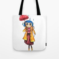 coraline Tote Bags featuring Coraline Doll by Garrett Kenneth Roach