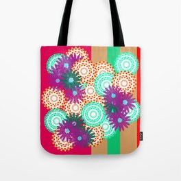 purple flowers dot circles with stripes Tote Bag