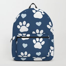 Dog Paws, Traces, Animal Paws, Hearts - Blue White Backpack