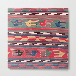 Southwestern Nomad II // 18th Century Colorful Red Blue Green Yellow Shapes and Bands Pattern Metal Print