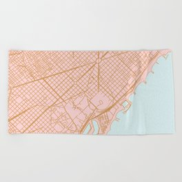 Barcelona map, Spain Beach Towel