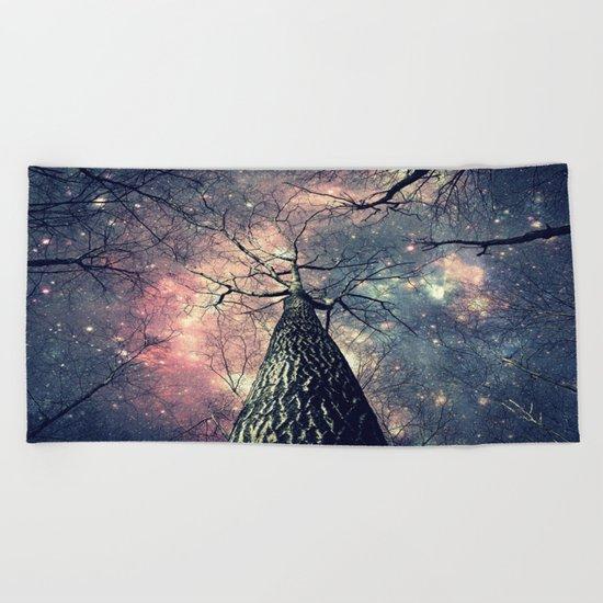Wintry Trees Galaxy Skies Beach Towel
