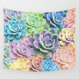 Rainbow Succulents Wall Tapestry