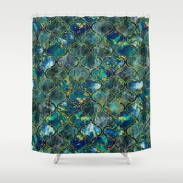 Oriental Pattern with Marble and gold Shower Curtain