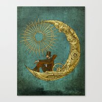 steampunk Canvas Prints featuring Moon Travel by Eric Fan