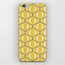 Retro Mid-Century Saucer Pattern in Yellow, Gray, Cream iPhone Skin
