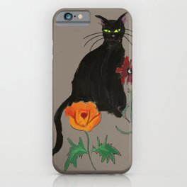 Black cat Le Chat iPhone Case