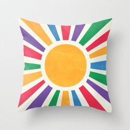 Retro Sunrise 2: 80s Rainbow Edition Throw Pillow