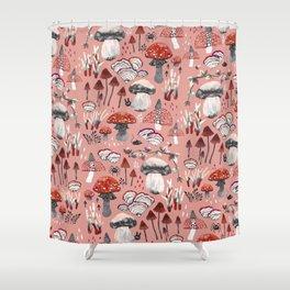 Fungi Farmer Land (Mushroom Land) - RED Shower Curtain