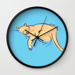 Sleepy Cat Position Wall Clock