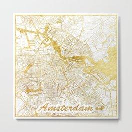 Amsterdam Map Gold Metal Print