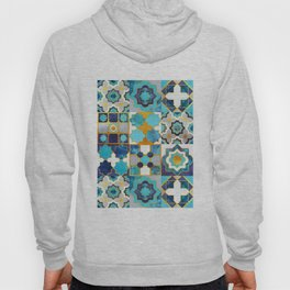 Spanish moroccan tiles inspiration // turquoise blue golden lines Hoody
