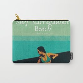 Surf Narragansett Beach, Rhode Island Vintage Surfing Big Swell Poster - New England Surfers Carry-All Pouch