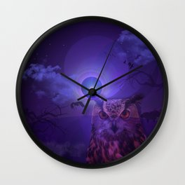 The Owl and the Purple Moon Wall Clock