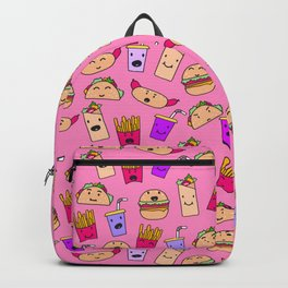 Kawaii Fast Food Burger Fries Taco Pattern Pink Backpack