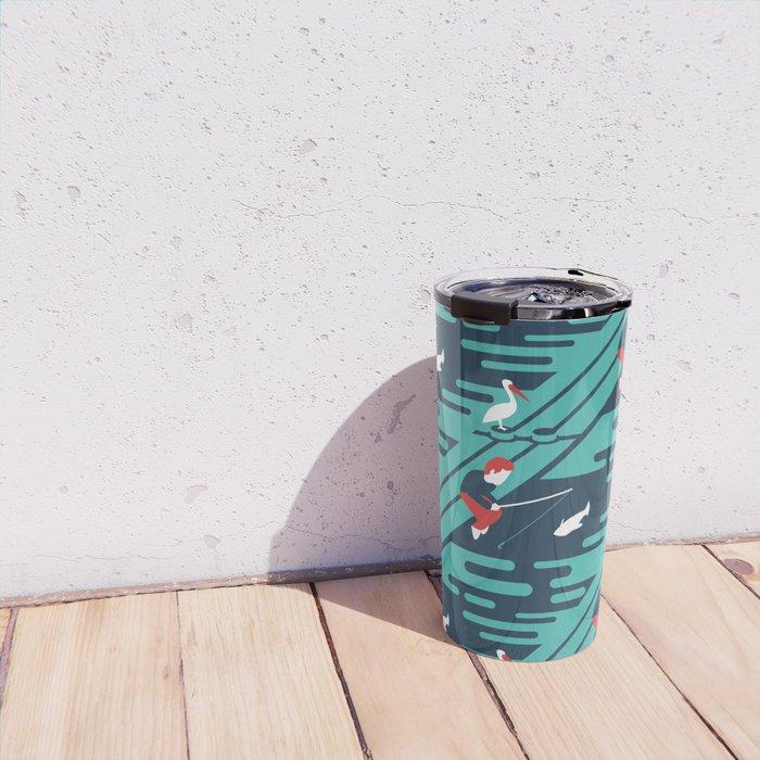 Fishing on the Dock Pattern Travel Mug