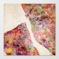 liverpool Canvas Prints featuring Liverpool by MapMapMaps.Watercolors