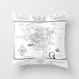 Hampton Historical Map Throw Pillow