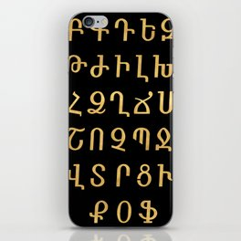 ARMENIAN ALPHABET - Black and Gold iPhone Skin
