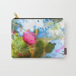 Vibrant painted thistle on white Carry-All Pouch