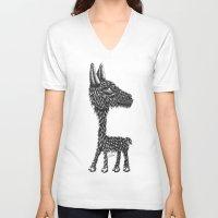 llama V-neck T-shirts featuring Llama by Jamie Killen
