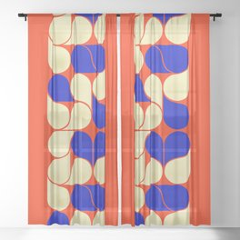 Mid-century geometric shapes-no10 Sheer Curtain