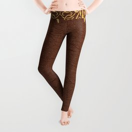 Brown leather texture gold frame Leggings