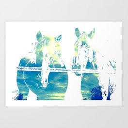 Two Horses and Sky Art Print
