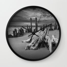 Tree Stump and Pilings on the Beach in Black and White at Kirk Park by Grand Haven Michigan Wall Clock