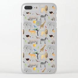 Safari Savanna Multiple Animals Clear iPhone Case