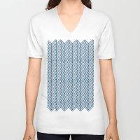 herringbone V-neck T-shirts featuring Herringbone Navy by Project M