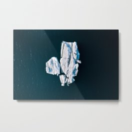 Lone, minimalist Iceberg from above - Landscape Photography Metal Print