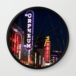 Granville St after dark 2 Wall Clock
