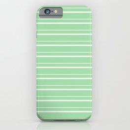 Linen Off White Horizontal Line Pattern 3 on Pastel Green Pairs to 2020 Color of the Year Neo Mint iPhone Case